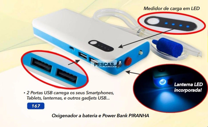 OXIGENADOR A BATERIA E POWER BANK PIRANHA
